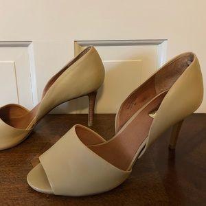 Halogen open toe leather heels